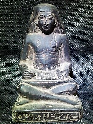 EGYPTIAN ARTIFACT ANTIQUITIES Seated Squatting Scribe Statue 1400–1356-BC
