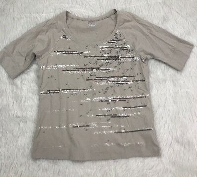 dee004b67b5592 Zenergy by Chico s size 1 Womens Top Size small metallic sequin t shirt