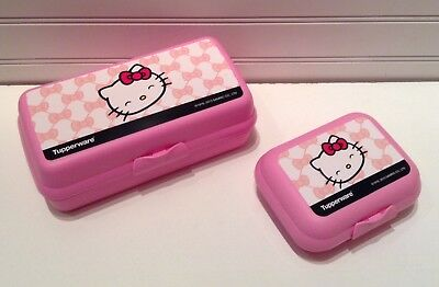 Tupperware #6671 Pink Hello Kitty Sub Sandwich Lunch Containers Lot Set Of 2