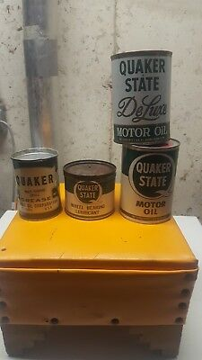 Quaker State Motor Oil, grease and lubricant cans