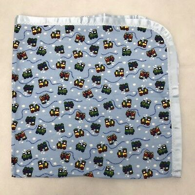 Baby Boy Blue Flannel Satin Trim Blanket Trains Receiving Swaddling  Handmade