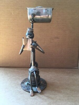 WOMAN READING ON TOILET Recycled Metal Art Figure, Welded