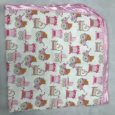Baby Pink White Color Flannel Satin Trim Blanket Receiving Swaddling  Handmade