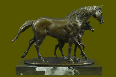 Bronze Horse & Foal On Marble Animal Art Signed Milo Statue Sculpture Figurine