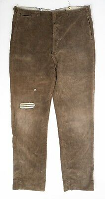 True Vintage 1920s Corduroy Work Pants ~ Stag Trouser Co. ~ Gusseted Crotch