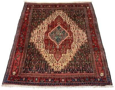 Senneh Kurdistan Old 150 x 122 cm Hand-Knotted Middle Eastern Rug Persian