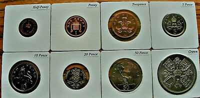 Set/Lot of 8 English British UK Coins - half-penny to crown