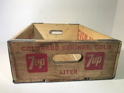 VIntage 7 Up Seven Up Wooden Case Flat Crate 1975 Colorado Springs