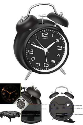 Vintage Twin Bell Alarm Clock With Stereoscopic Dial Clearly Visible At Night