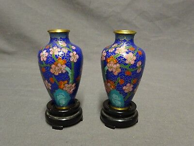 "Vintage Pair of 3"" Oriental Cloisonne Vases With Wooden Bases - Chinese"