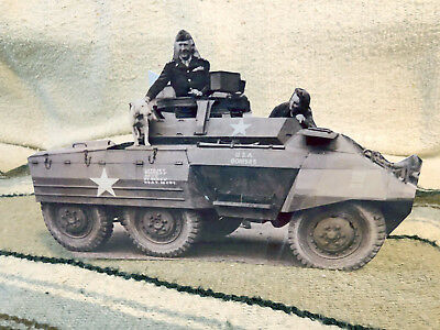 Gen Patton on his M-20 in England wDog Willie Tabletop Display Standee 10.5 Long