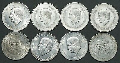 Lot of 8 Large Mexican Silver Coins, AU/BU. 5 & 10 Pesos