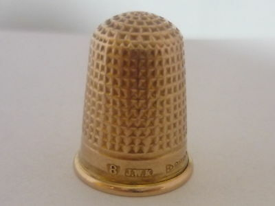 Stunning Antique 1917 Chester 9k Gold Thimble By J W Kirwan & Co - 4.2 Grams