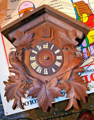 "Vintage German Small Wooden 12"" Cuckoo Clock No Hands"