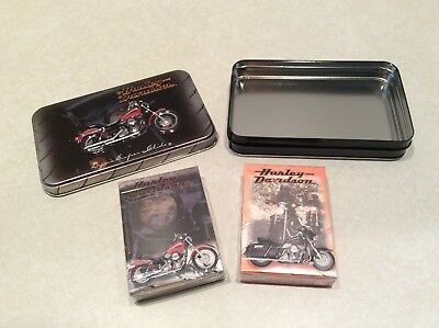 Harley Davidson tin box, 2 new decks playing cards