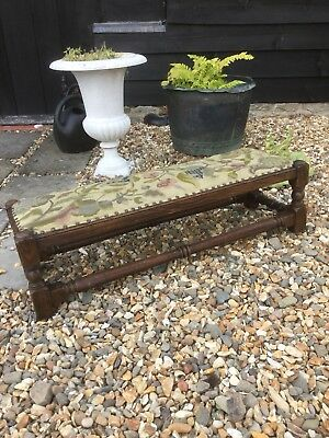 Fantastic Solid Oak Long Footstool Tapestry Top Lovely Condition