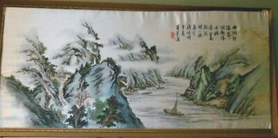 Antique Vtg Asian Oriental Embroidered Silk Painting Mountains Yangtze River