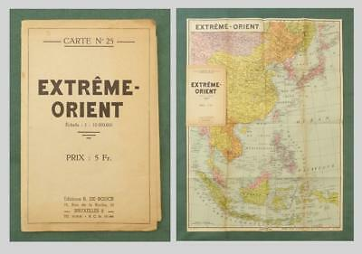 "MAP of the FAR EAST, Belgian, ""Extreme Orient"" c.1930's - China, Japan, Malaysia"