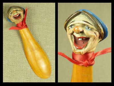 ANRI Carved Wooden SHOEHORN/ SHOE HORN - WOMAN in BLUE HAT - Italy