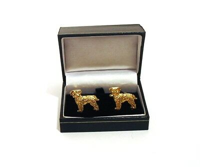 Border Terrier Gold Plated Cufflinks BOXED Fathers Fashion Xmas Gift