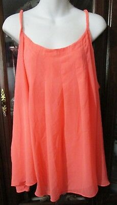 Women's Orange Sherbet Dressy Career Summer Strap Full Blouse ~ Size 24