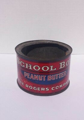 RARE 1920's VINTAGE School Boy Peanut Butter Tin Can Rogers Seattle Tacoma