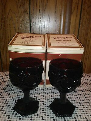 Avon Cape Cod Ruby Red Water Goblets In Box (2)