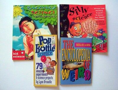 Lot of 4 Books: Three Science Projects & Encyclopedia Of Weird, Children's Scien