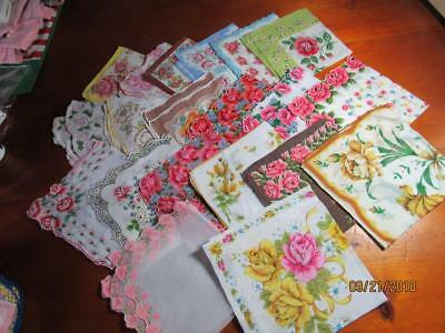 Vintage Hankies Handkerchiefs All Roses Lot of 20 Pink Yellow Red Roses Round Sq