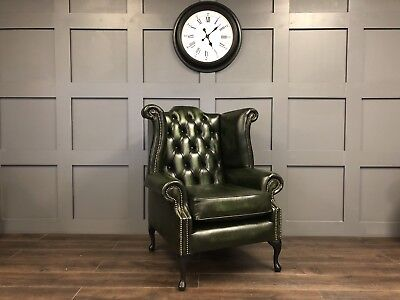 Chesterfield Queen Anne Antique Green Leather High Back Wing Chair