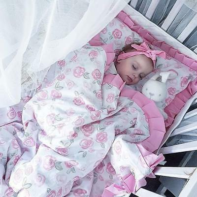100% pure cotton, Baby Bedding , Hand Made Single, Set for cot with a flounce,