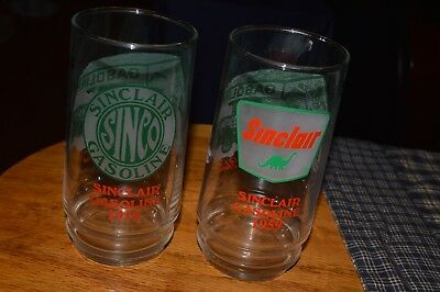 Vintage Sinclair Gasoline Through The Years Drinking Glasses-Great Collectibles!