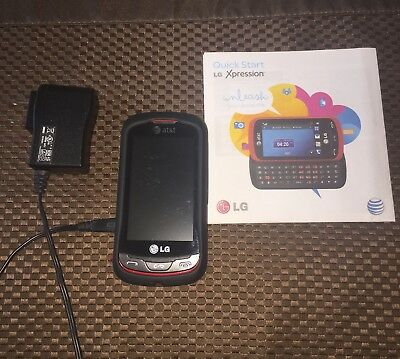 AT&T LG Xpression RED Slider Phone with manual and charger