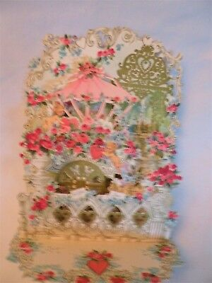 VINTAGE BIG POP-UP VALENTINE CARD- GREAT CONDITION with ORIGINAL ENVELOPE-ITALY