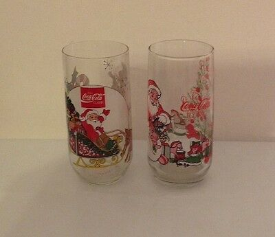 Two Coca Cola Classics Christmas Holiday Glasses by McCory Stores