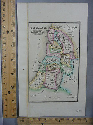 Rare Antique Orig VTG Leavitt Lord Tribes Of Israel Jerusalem Map Engraved Print