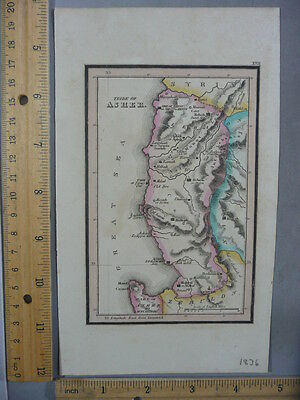 Rare Antique Orig VTG 1836 Leavitt Lord Tribe Of Asher Syria Map Engraved Print