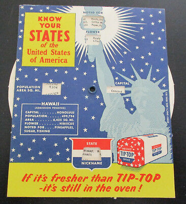 1957 TIP-TOP BREAD Know Your States Advertising Cardboard Educational Wheel