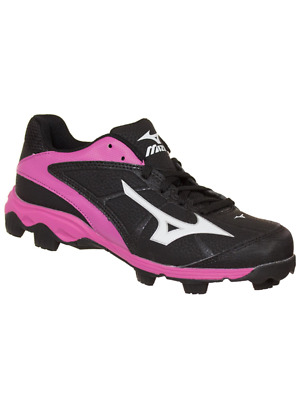 Mizuno Damen 9-Spike Advanced Finch Franchise 6 Softball Klemme Schwarz/Pink 7.5