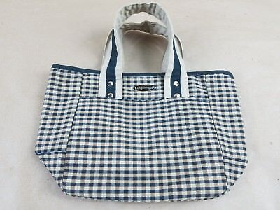 Longaberger Homestead Tote Purse Lunch Bag Khaki Black Check Checkered Plaid