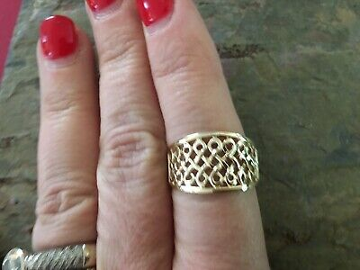 14 KT Yellow Gold Polished Infinity Open Weave Design Wide Cigar Band Ring NEW