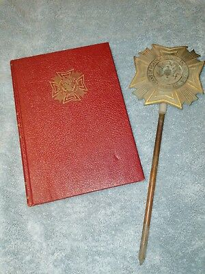 U.s. Military Vfw Veterans Of Foreign Wars Brass Bronze Grave Marker With Book