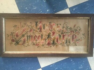 Antique Victorian Punch Paper Home Sweet Home Motto Sampler Interesting Signatur