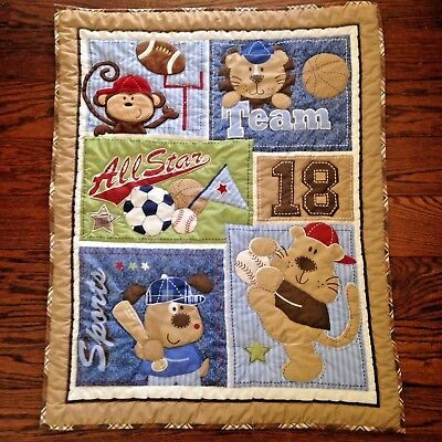 Just Born Baby Quilted Blanket and Fitted Crib Sheet SET All Star Sports Animals