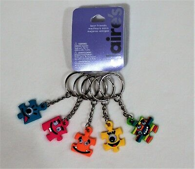 Claire's BFF Key Chain 5 Puzzle Pieces Key Ring Back To School Fun