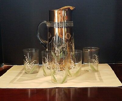 Antique Lily Of The Valley Pitcher with  5 Tumblers