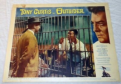 Rare 1961 The Outsider Lobby Card Tony Curtis Ira Hayes Iwo Jima Flag Ww2 11X14