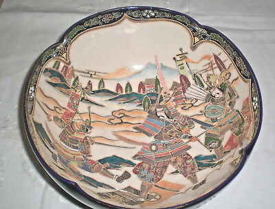 "Satsuma WARRIOR BOWL Meiji Cobalt & Gold Signed, 9 3/4"" Large Size EXC."