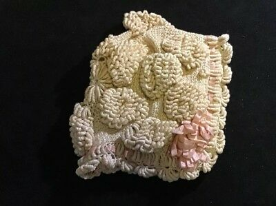 BABY BONNET Of Handmade Antique American Crocheted Lace Unused Condition