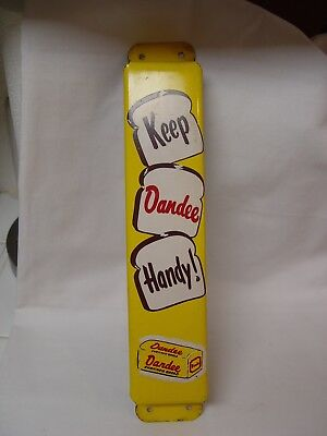 "Vintage 13.5"" Keep Dandee Handy Bread Metal Advertising Door Push Bar Sign"